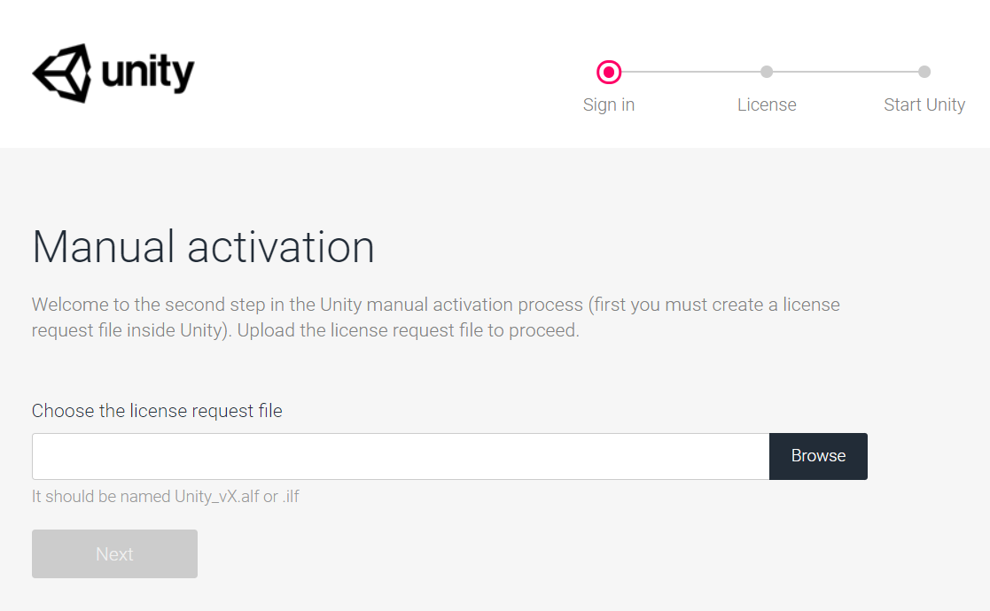 unity license activation web page